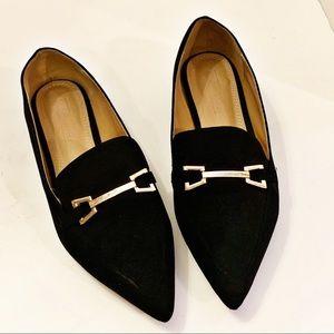 ASOS Faux Velvet Black Slip on Loafers size 7